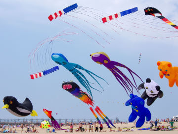 The Windjammers fly a routine against a backdrop of giant kites at the Great Lakes Kite Festival