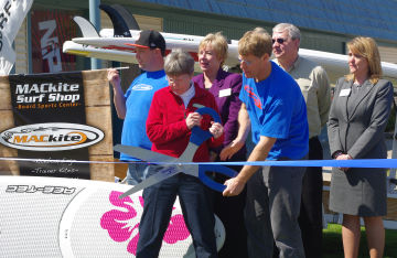Ribbon cutting with the mayor for the grand opening of the MACkite Boardsports Center