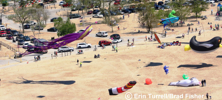 A view of the kite festival from a plane, by Erin Turrell and Brad Fisher