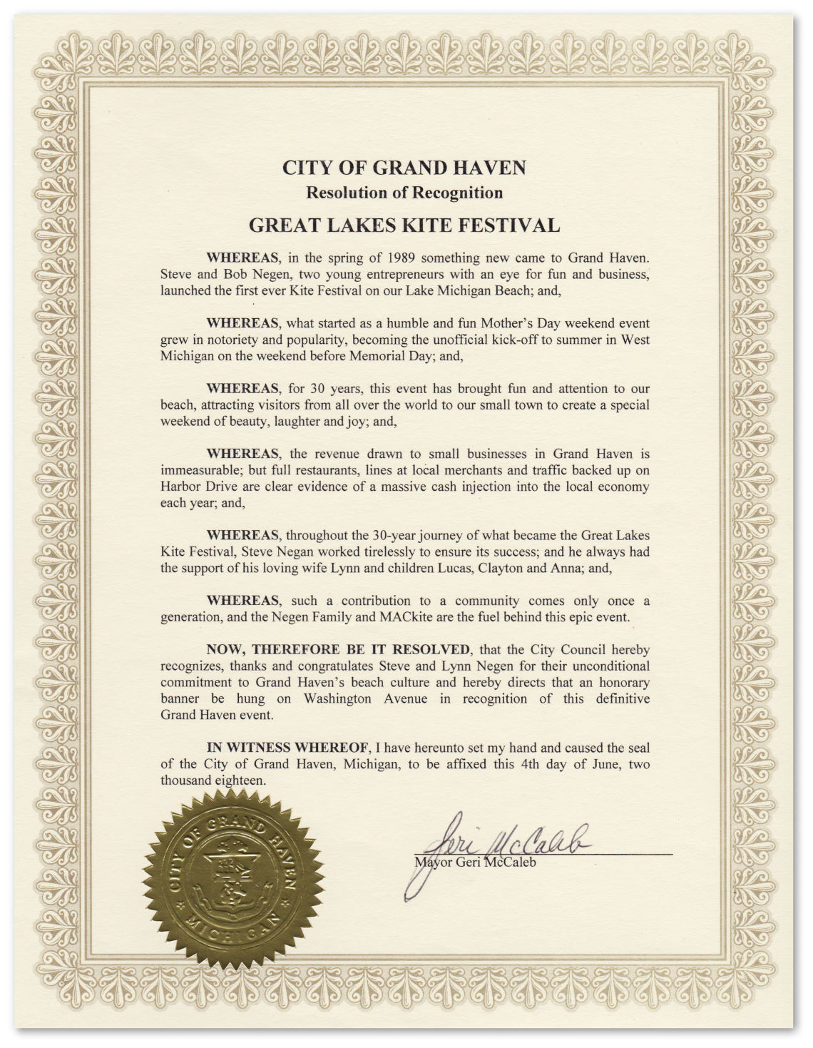 City of Grand Haven Resolution of Recognition for the Great Lakes Kite Festival