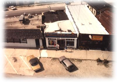 Aerial view of the original Mackinaw Kite Co. store